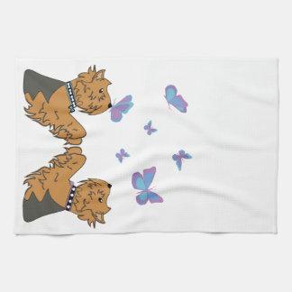 Yorkies och fjärilar kökshandduk