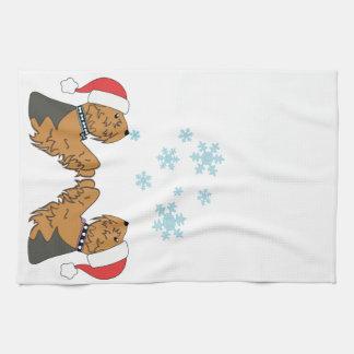 Yorkies och snöflingor kökshandduk