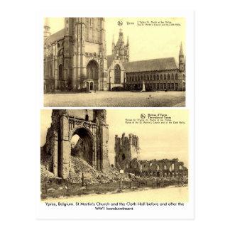 Ypres Belgien - vykort för beskjutning WW1