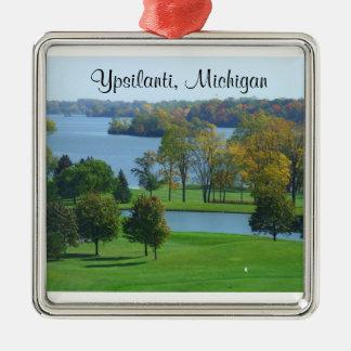 Ypsilanti Michigan MI golfbana på sjön Julgransprydnad Metall