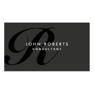 Yrkesmässig elegant modern svart för Monogram Set Av Standard Visitkort
