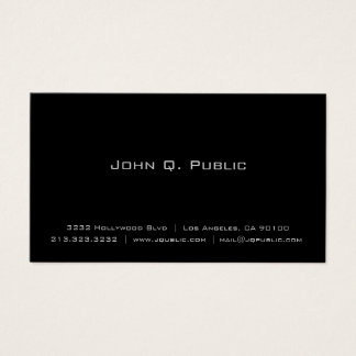 Yrkesmässig enkel elegantslättsvart visitkort