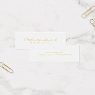 Yrkesmässig enkel modern vit och guld litet visitkort