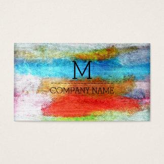 Yrkesmässig färgrik modern Wood Monogram #23 Visitkort