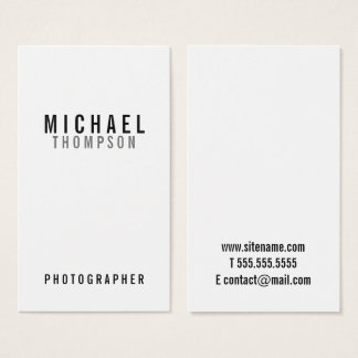Yrkesmässigt Minimalist svartvitt Visitkort