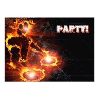 Ytterligheten kall flammande DJ festar invitation Personliga Inbjudningskort