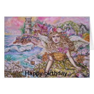 yumisugaiänglar, lycklig birthday. hälsningskort