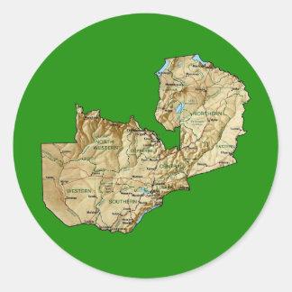 Zambia kartaklistermärke runt klistermärke