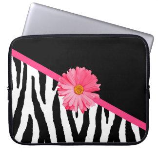 Zebra mönstrad flickaktigt rosa daisy laptopskydd