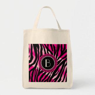 Zebra mönstrad och Monogram för djurt tryck rosa Mat Tygkasse