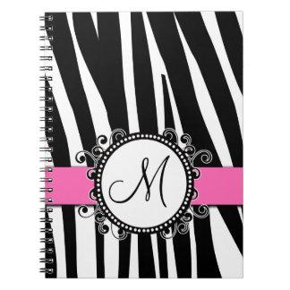 Zebra mönstrad rosa anteckningsbok för Monogram M