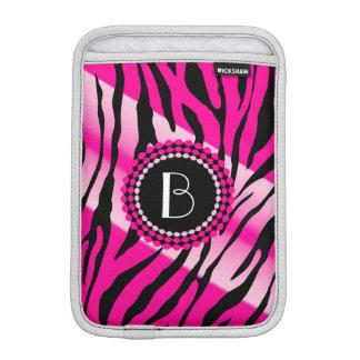 Zebra mönstrad rosa djurt tryck och Monogram