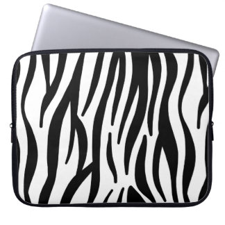 Zebra mönstrad vit och svart laptopskydd fodral