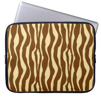 Zebra ränder - choklad - brunt- och kamelsolbränna datorskydds fodral