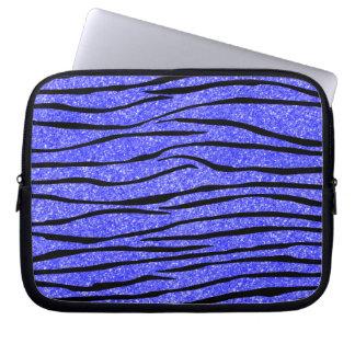 Zebra ränder för neonblåttglitter laptopskydd