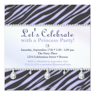 Zebra ränder för Princess Festa i purpurfärgad Fyrkantigt 13,3 Cm Inbjudningskort