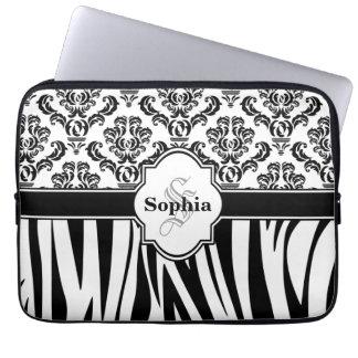 Zebra ränder för vintagedamastcoola laptopskydd