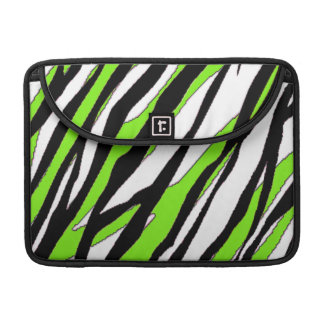 Zebra ränder med abstrakt limefruktgröntrandar sleeves för MacBook pro