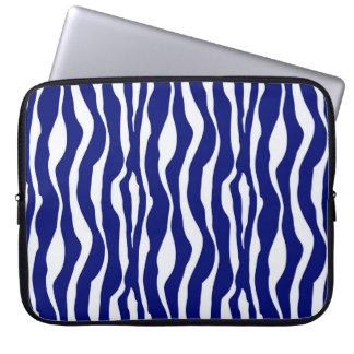Zebra ränder - mörk koboltblått och vit laptop datorskydd