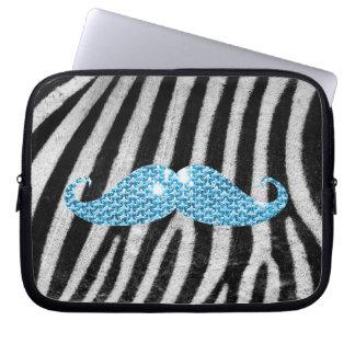 Zebra ränder och blåttBling mustasch Datorfodral