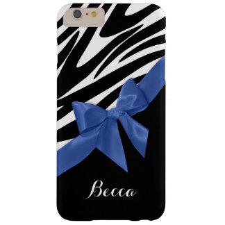 Zebra ränder och blåttpilbåge med namn barely there iPhone 6 plus fodral