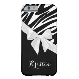 Zebra ränder och vitpilbåge med namn barely there iPhone 6 skal