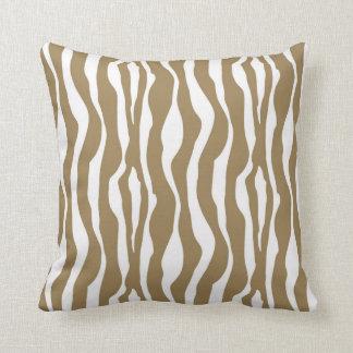 Zebra ränder - Taupesolbränna och vit Kudde