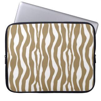 Zebra ränder - Taupesolbränna och vit Laptop Datorfodral