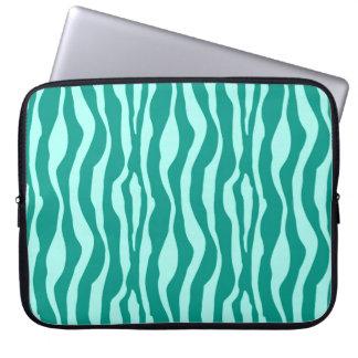 Zebra ränder - turkos och Aqua Laptopskydd Fodral