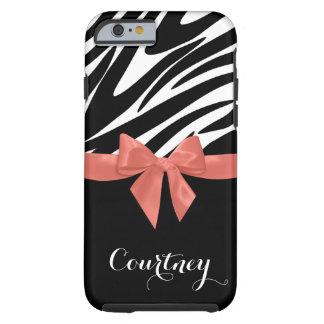 Zebra ränderkorallpilbåge med namn tough iPhone 6 case