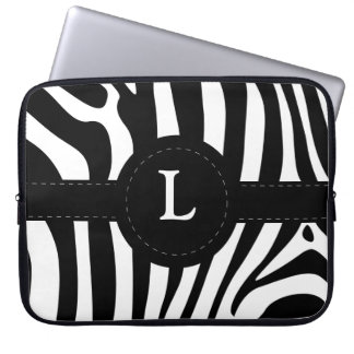 Zebra rändermonogram initialt L anpassningsbar Datorfodral