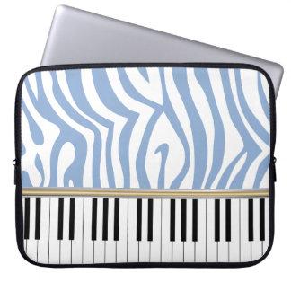 Zebra tryck för blått för pianonyckelhimmel laptopskydd fodral