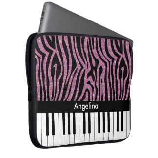 Zebra tryck för glitter för rosor för laptop datorskydd