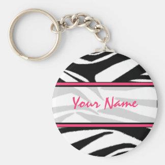Zebra tryck Keychain Rund Nyckelring