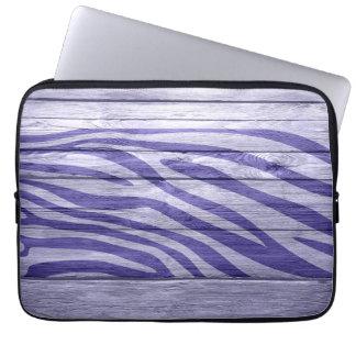 Zebra tryck på trä #5 laptop datorfodral