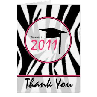 Zebra tryck-/shock rosastudententack - 2011 hälsningskort