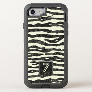 Zebra tryck svart Ecru görar randig den stilfulla OtterBox Defender iPhone 7 Skal