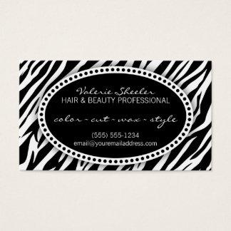 Zebra tryckhår & skönhettidsbeställningskort visitkort