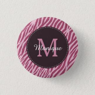 Zebra tryckMonogram och namn för snyggt rosa rosa Mini Knapp Rund 3.2 Cm
