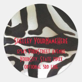 Zebra tryckreturadress runt klistermärke