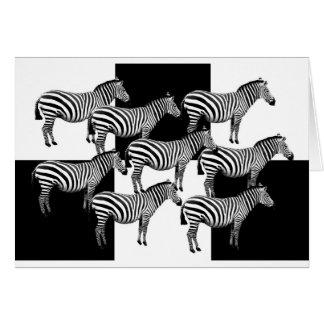 Zebror i svartvitt hälsningskort