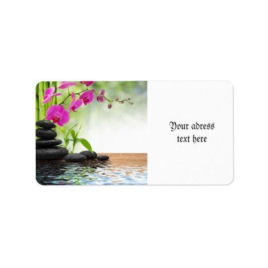 zen fred, rosa orchid som är härlig, brunnsort som adressetikett