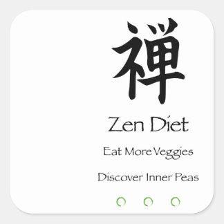 Zenen bantar - äta mer Veggies - upptäcker inre Fyrkantigt Klistermärke