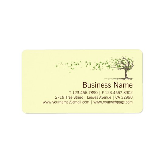 Zenvindträd med lövaffär märker klistermärkear adressetikett