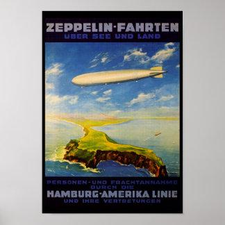 Zeppelinen snubblar ~ över havet och land poster