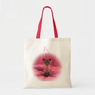 Zig - den Siamese katten på rosor kopierar, zigen Tygkasse