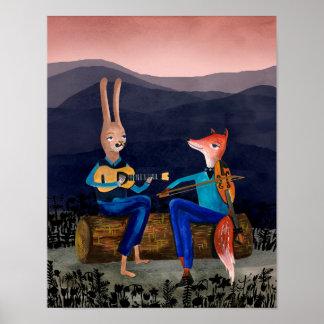 Zigensk Jazz - kanin och räv som leker musik Poster