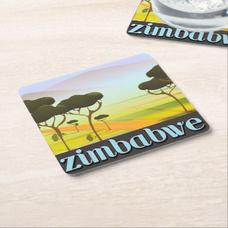 Zimbabwe landskap reser affischen underlägg papper kvadrat
