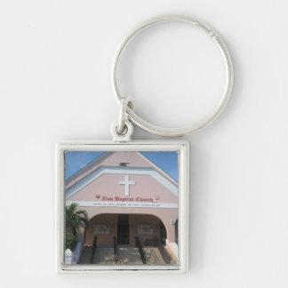 Zion baptistkyrka fyrkantig silverfärgad nyckelring