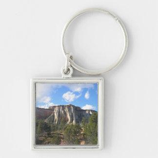 Zion nationalpark fyrkantig silverfärgad nyckelring